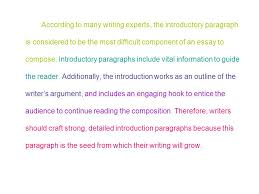introductory paragraphs ppt video online  according to many writing experts the introductory paragraph is considered to be the most difficult