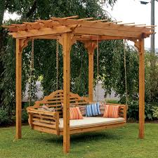 cedar wood pergola with swing hangers