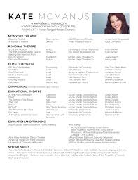 Actor Resume New Kate McManus Actor Resume