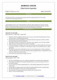 Client Service Specialist Resume Samples Qwikresume