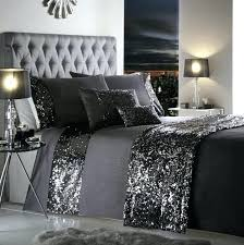 charcoal grey duvet cover dark dazzle sequin detail sets all sizes for modern property bedding designs