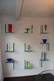 Living Room Shelf Decorating Inspiring Stripped Floating Glass Corner Shelf Ideas
