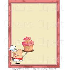 chef border clip art. Wonderful Border Cuisine Vector Clipart Of A Menu Border With Chef Holding Cake With Clip Art P