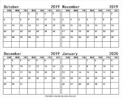 Oct Nov Dec 2019 Jan 2020 Calendar Australia Blank Calendar