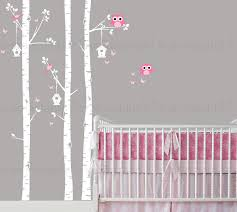 birch tree wall decal owls and birdhouse custom baby nursery children s room living space interior design easy application 018 on tree wall art for baby nursery with birch tree wall decal owls and birdhouse custom baby nursery