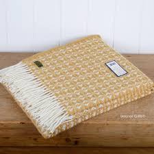 cobweave english mustard wool throw tweedmill yellow  cream in