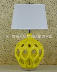 Us 4416 Yellow Hollow Ceramic Lamp Bedroom Bedside Lamp Ikea American Village Cafe Sample Room Decoration Table Lamp In Led Panel Lights From