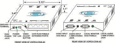 vga splitter multi point extender cat5 a v distribution amplifier compact vga audio splitter extender via cat5 vopex c5va 4c