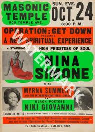 Myrna Summers 1971 vintage concert poster Nina Simone
