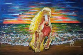 horse in the beach painting 60x92x3 cm 2018 by maria rom art