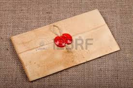 old vintage letter with wax seal on burlap ver=6
