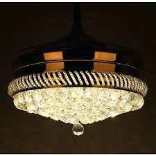 inch modern led crystal chandelier ceiling fan with lights and remote invisible retractable blades chandeliers style