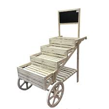 tall alpine wooden cart plant and display stand with chalkboard