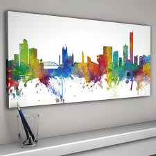 panoramic white background canvas on manchester skyline wall art with manchester england city skyline by artpause notonthehighstreet