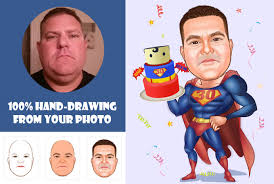 draw birthday retirement superhero gift caricature
