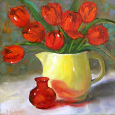custom made red tulips oil painting