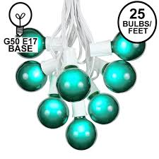 Outdoor Novelty Lights Green G50 Globe Round Outdoor String Light Set On White Wire
