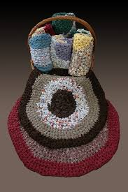 various colored hand stitched crochet rugs