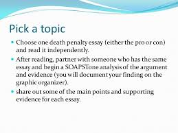 lab activity learning target on a separate sheet of paper  pick a topic choose one death penalty essay either the pro or con and
