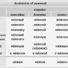 Russian Declension Chart