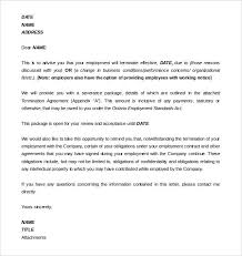 Termination Of Employment Letter Template 11 Employment Termination Letter Templates Free Sample Example