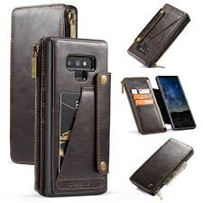 galaxy note 9 detachable zipper wallet leather case brown 39 99 26 99