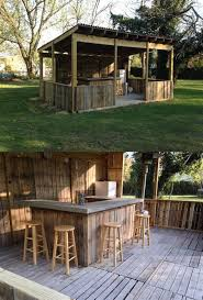 outdoor bar made from palettes concrete bar top diy