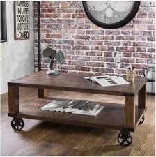 rustic coffee table vintage industrial cart distressed wood wheels storage brown