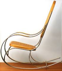designer unknown vintage brass bentwood rocking chair with a rattan seat and backrest