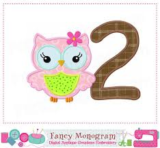Owl Birthday Applique Design Owl Number 2 Applique My 2nd Birthday Number 2 Design Babies