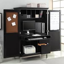 Furniture: Black Computer Armoire With File Drawer And Sticky Reminder -  White Computer Armoire