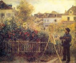 renoir s monet painting in his garden at argenteuil public domain wikimedia commons