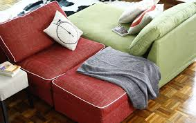 ikea kivik chaise lounges in nomad red and kivik armchair footstool