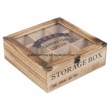 china multi storage section compartments wooden tea box with glass lid china wood crate wood box