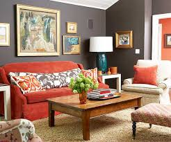 ... living room dcor with red accents The ...