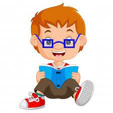 kids boy reading book cartoon premium vector