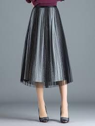 Stylewe Mesh <b>Elegant</b> Pleated Shimmer <b>Gradient</b> Midi <b>Skirt</b>