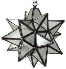 moravian star pendant light antique mirrored glass 12
