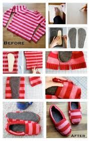 18 diy winter clothes and accessories upcycle an old sweater into warm diy slippers