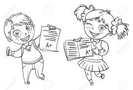 男の子と女の子の完璧なテスト結果を示しますa 学生面白い漫画のキャラクターベクトルの図白い背景