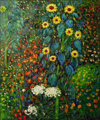 framed klimt garden with sunflowers repro hand painted oil
