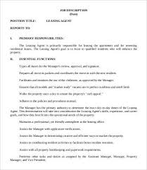 real estate leasing agent job description real estate property manager job description