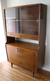 Kroehler Bedroom Furniture Mid Century Modern China Cabinet Hutch With Rosewood Handles And