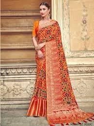 Tathastu Designer Sarees Series 3101 To 3109 By Tathastu Orange Silk Thread Wholesale Designer Saree