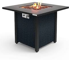 Amazon Com Serenelife Slfps3 Outdoor Pit Csa Approved Safe 40 000 Btu Pulse Ignition Propane Gas Fire Table Tabletop Rattan Look Steel Panel 6 6 Lbs Garden Outdoor
