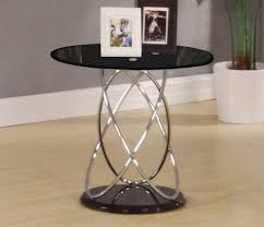 chrome amp glass end lamp small side coffee table clear black