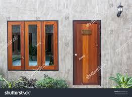 Concrete Window Design Architecture Outdoor Exterior Modern Design Wooden Stock
