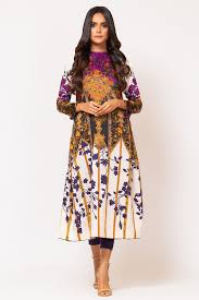 2 Piece Printed Suit With Dyed Cotton Satin Trouser