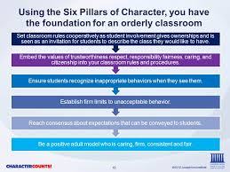 the six pillar educator ppt video online  using the six pillars of character you have the foundation for an orderly classroom