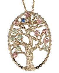 10k black hills gold family tree birthstone necklace and brooch